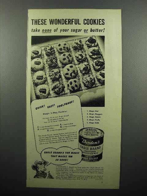 1945 Borden's Eagle Condensed Milk Ad - Cookies - $14.99