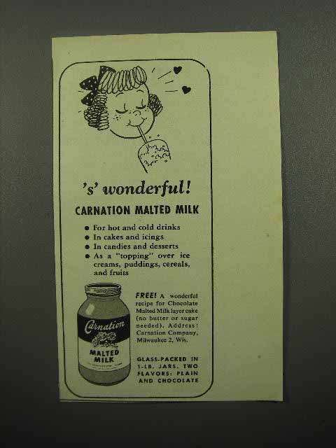 1946 Carnation Malted Milk Ad - 's' Wonderful