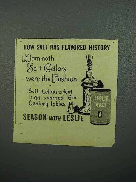 1945 Leslie Salt Ad - Mammoth Salt Cellars