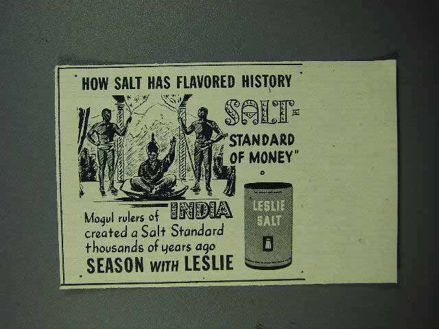 1946 Leslie Salt Ad - Standard of Money India