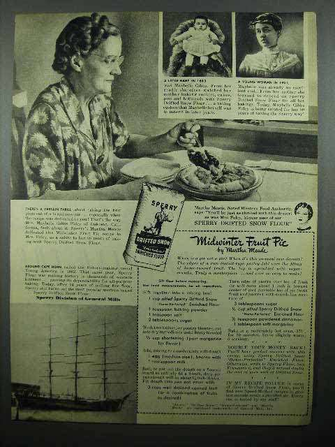 1946 Sperry Drifted Snow Flour Ad - Midwinter Fruit Pie