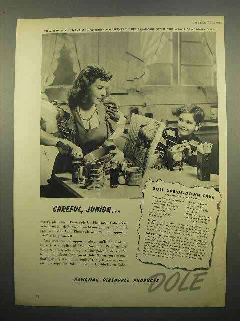 1944 Dole Pineapple Ad - Upside-Down Cake, Diana Lynn