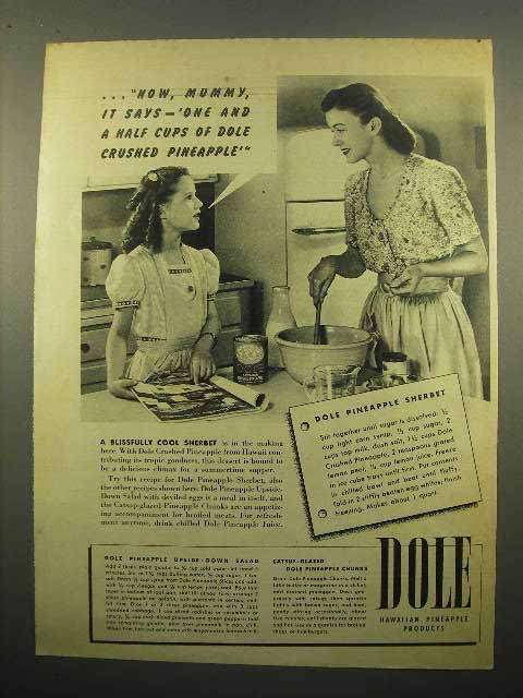 1946 Dole Pineapple Ad - Pineapple Sherbet
