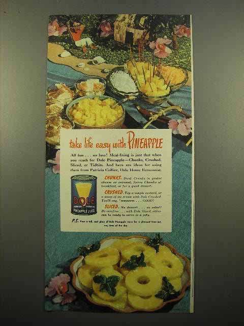 1947 Dole Pineapple Ad - Take Life Easy
