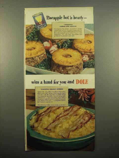 1948 Dole Pineapple Ad - Corned Beef Crowns, Squash