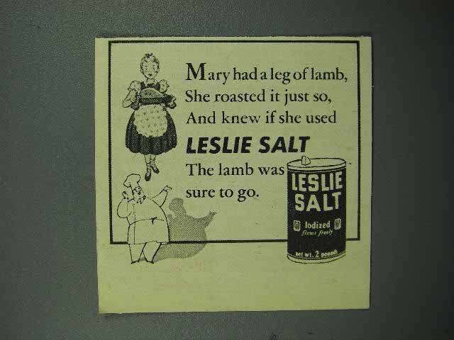 1944 Leslie Salt Ad - Mary Had a Leg of Lamb