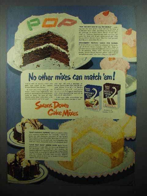 1952 Swans Down Cake Mix Ad - No Other Mixes Match