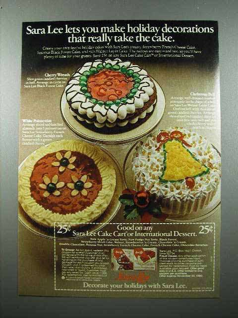 1979 Sara Lee Cake Ad - Holiday Decorations