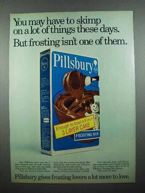 1972 Pillsbury Frosting Mix Ad - Skimp on Lot of Things