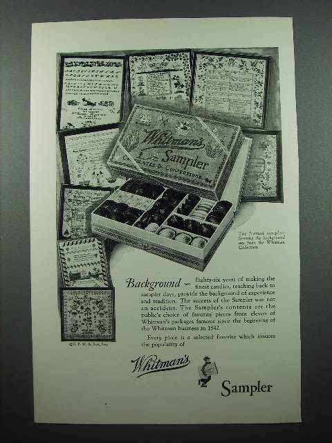 1928 Whitman's Sampler Chocolate Ad - Background