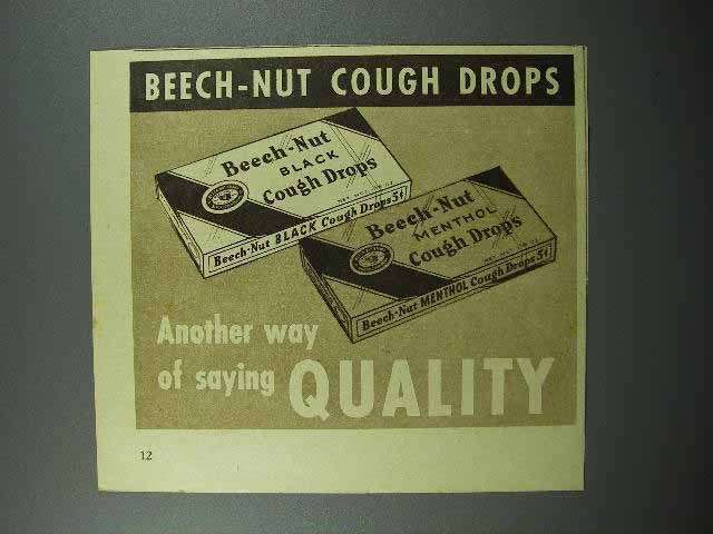 1936 Beech-Nut Cough Drops Ad - Quality
