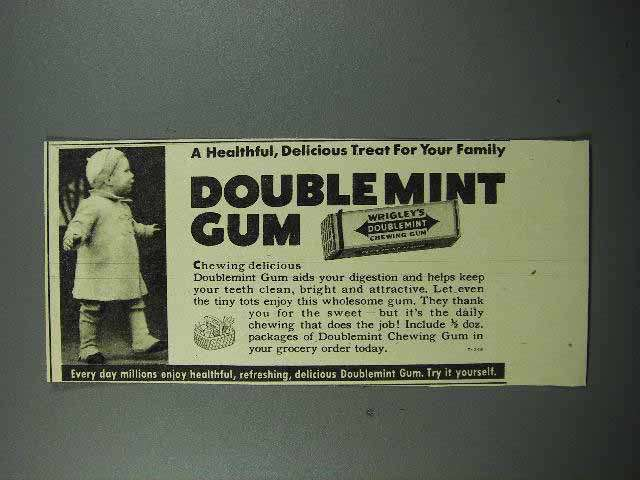 1939 Wrigley's Doublemint Gum Ad - Delicious Treat