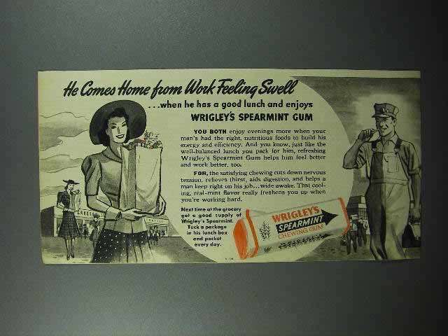 1942 Wrigley's Spearmint Gum Ad - Home from Work