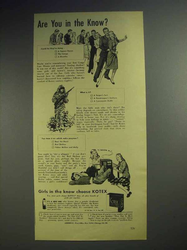 1944 Kotex Sanitary Napkins Ad - in The Know?