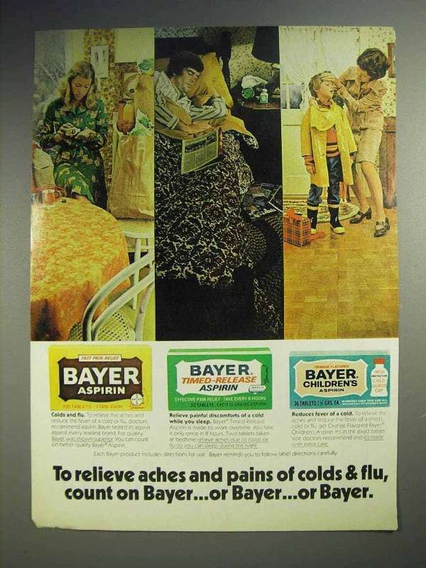 1973 Bayer Aspirin Ad - Relieve Aches and Pains