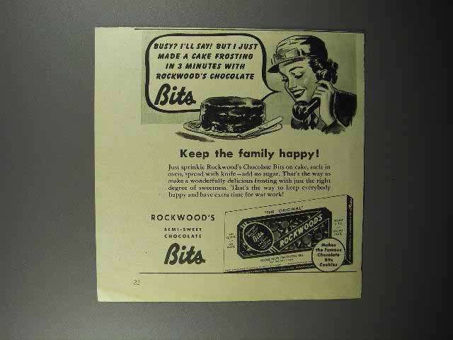 1944 Rockwood's Chocolate Bits Ad - Family Happy