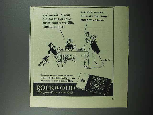 1945 Rockwood's Chocolate Bits Ad - Go To Your Party