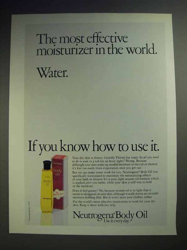 1979 Neutrogena Body Oil Ad - Effective Moisturizer