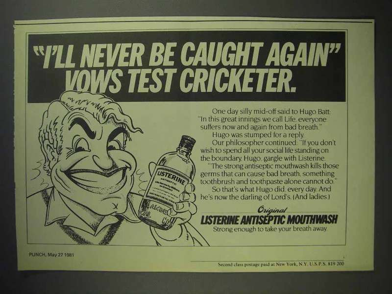 1981 Listerine Mouthwash Ad - Never Be Caught Again