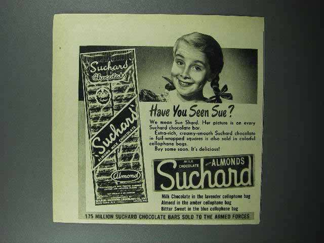 1947 Suchard Chocolate Ad - Have You Seen Sue?