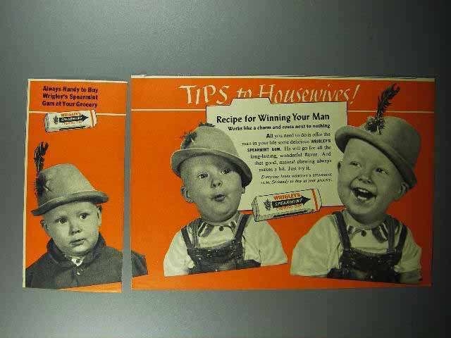1952 Wrigley's Spearmint Gum 2-page Ad - Tips to Housewives