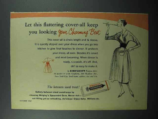 1957 Wrigley's Spearmint Gum Ad - Flattering Cover-all