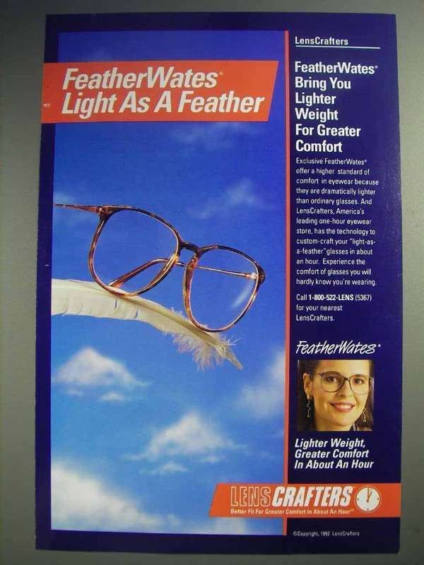 1992 LensCrafters FeatherWates Eyeglass Lenses Ad