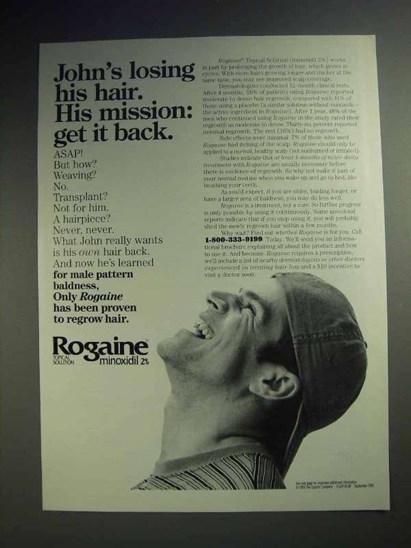1993 Rogaine Hair Loss Treatment Ad - Get It Back