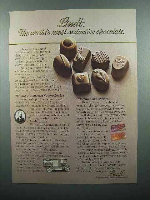 1985 Lindt Chocolate Ad - World's Most Seductive