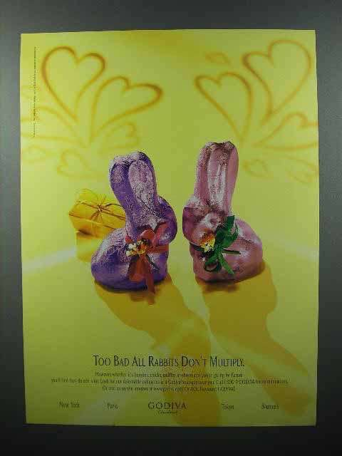 1997 Godiva Chocolate Ad - Rabbits Don't Multiply