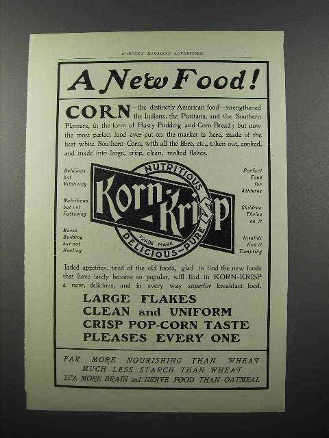 1902 Korn-Krisp Cereal Ad - A New Food!