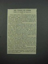 1913 Postum Grape-Nuts Cereal Ad - Dr. Talks on Food - $14.99