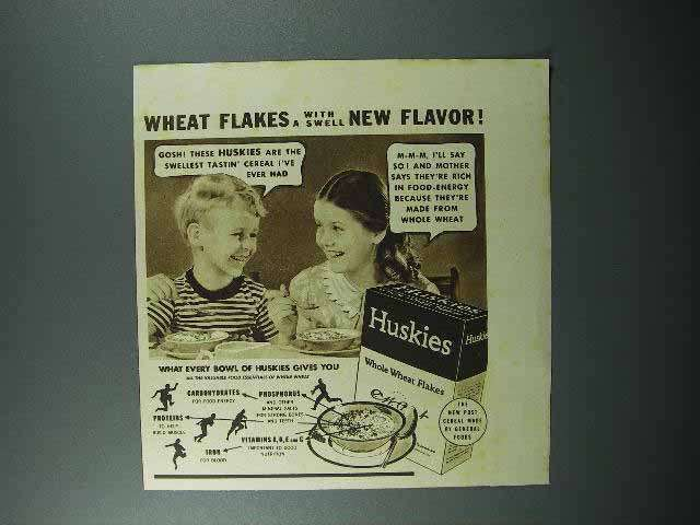 1938 Huskies Cereal Ad - A Swell New Flavor