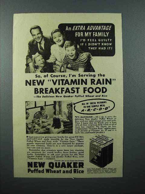 1940 Quaker Puffed Wheat and Rice Cereal Ad - Vitamin