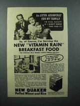 1940 Quaker Puffed Wheat and Rice Cereal Ad - Vitamin - $14.99