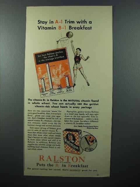 1941 Ralston Cereal Ad - Stay A-1 Trim with Vitamin B-1