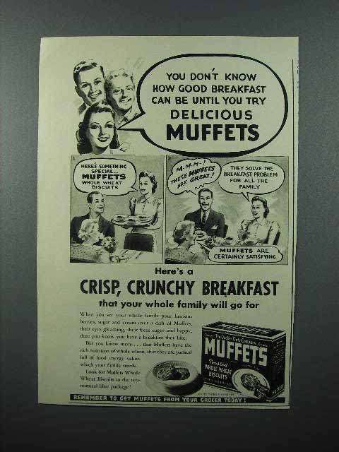 1941 Quaker Oats Muffets Cereal Ad - Delicious