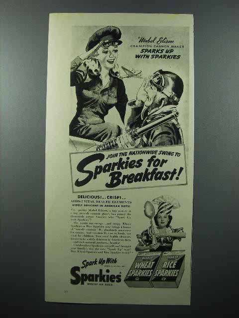 1942 Quaker Wheat, Rice Sparkies Cereal Ad - Cannon Maker