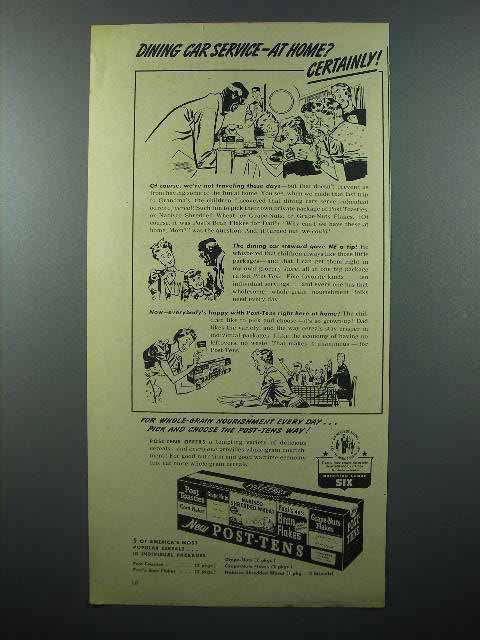 1943 Post-Tens Cereal Package Ad - Dining Car Service