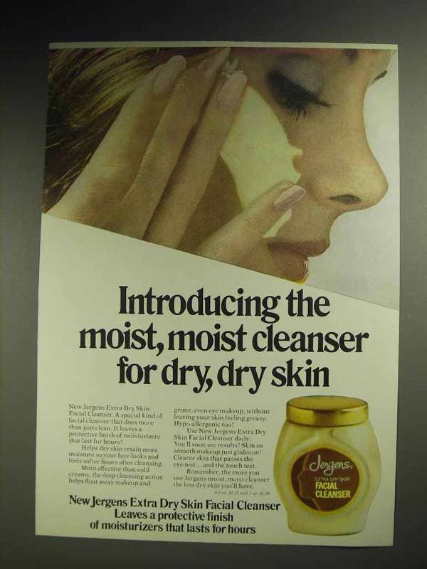1970 Jergens Facial Cleanser Ad - Moist for Dry Skin