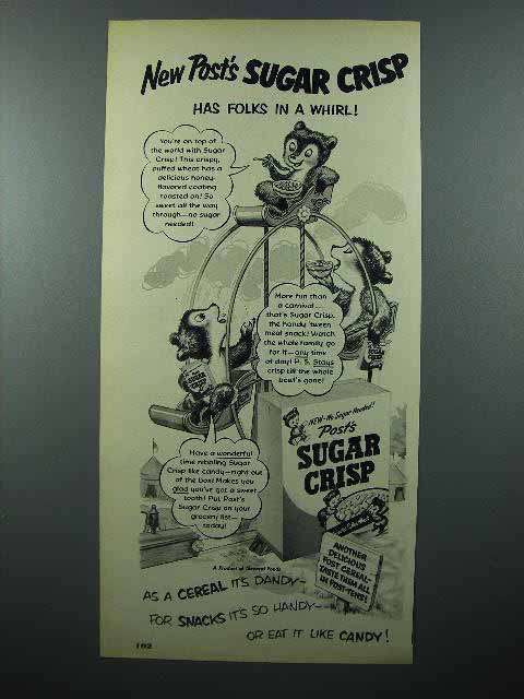 1951 Post's Sugar Crisp Cereal Ad - Folks in a Whirl