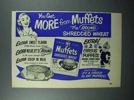 1952 Quaker Muffets Shredded Wheat Cereal Ad - $14.99