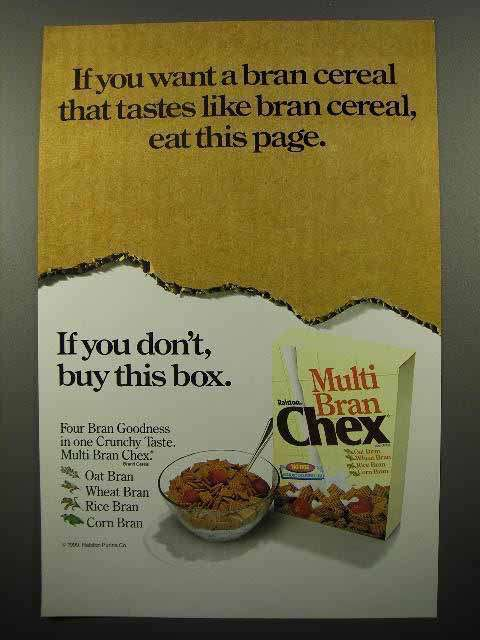 1991 Ralston Multi Bran Chex Cereal Ad - Eat This Page