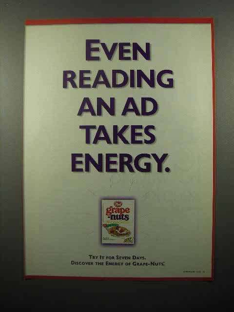 1999 post Grape-Nuts Cereal Ad, Reading Ad Takes Energy
