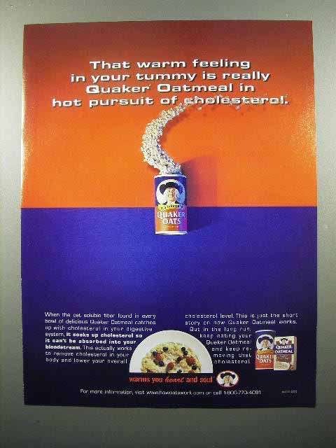 2000 Quaker Oats Ad - Hot pursuit of Cholesterol