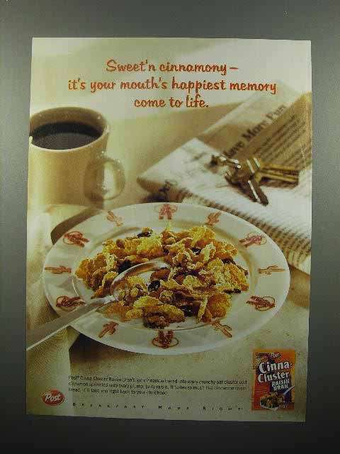 2001 Post Cinna-Cluster Raisin Bran Cereal Ad