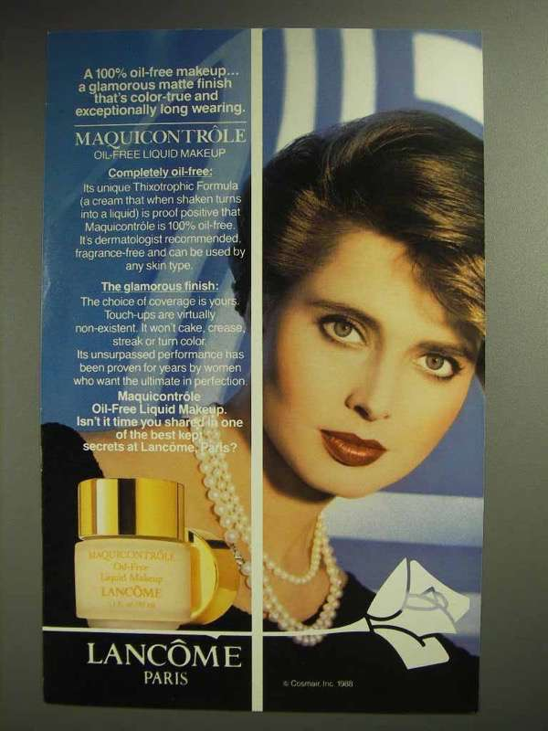 1989 Lancome Maquicontrole Oil-Free Liquid Makeup Ad