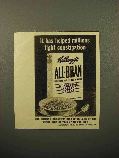 1940 Kellogg's All-Bran Cereal Ad - Fight Constipation
