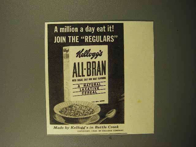 1940 Kellogg's All-Bran Cereal Ad, Million A Day Eat It