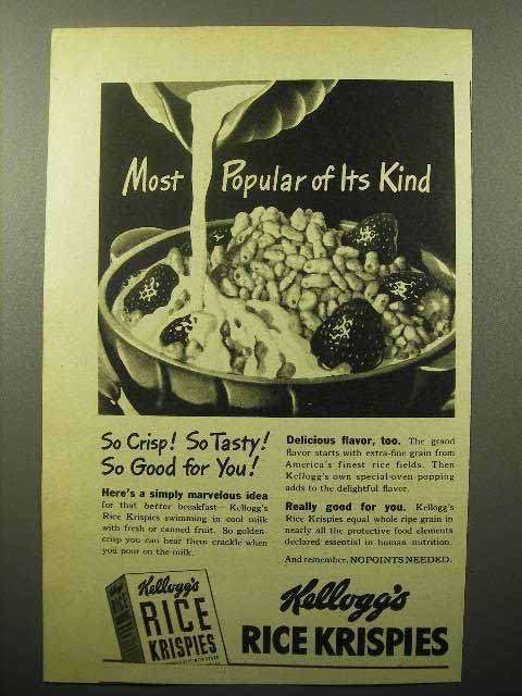 1944 Kellogg's Rice Krispies Cereal Ad - Most Popular